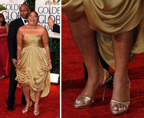 Mo'nique acudió a la gala de los Globos de Oro sin depilar.