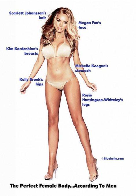 Cabello de Scarlett Johansson, rostro de Megan Fox, pechos de Kim Kardashian, vientre de Michelle Keegan, caderas de kelly Brook y piernas de Rosie Huntington-Whiteley.